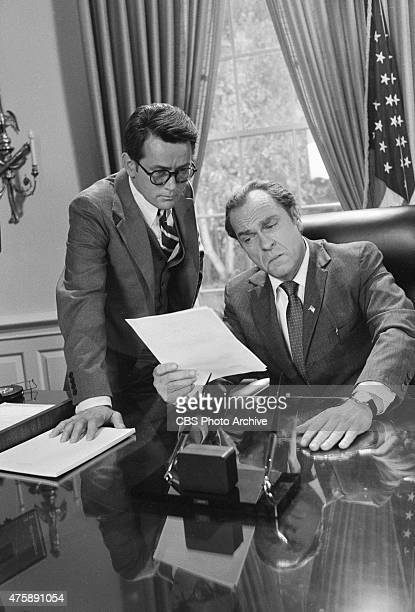 Martin Sheen as John Dean left and Rip Torn as President Richard Nixon in the CBS miniseries 'Blind Ambition' Image dated November 16 1978