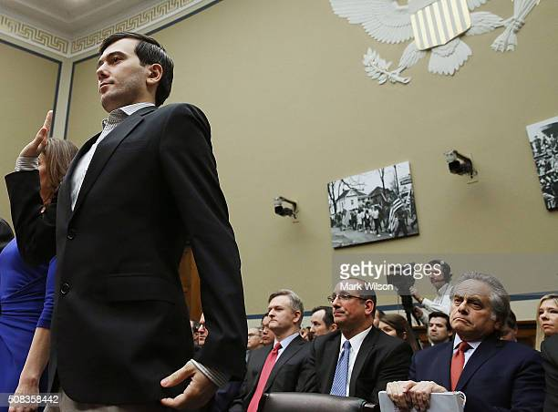 Martin Shkreli former CEO of Turing Pharmaceuticals LLC is sworn in during a House Oversight and Government Reform Committee hearing on Capitol Hill...