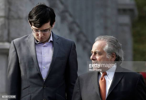 Martin Shkreli former chief executive officer of Turing Pharmaceuticals AG left arrives at federal court with his attorney Benjamin Brafman in the...