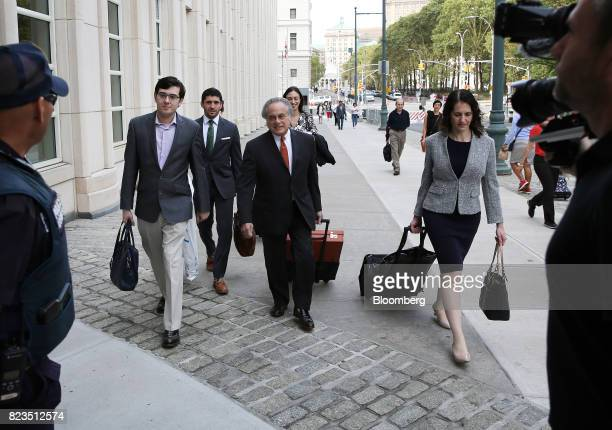 Martin Shkreli former chief executive officer of Turing Pharmaceuticals AG left arrives at federal court with his attorney Benjamin Brafman center in...