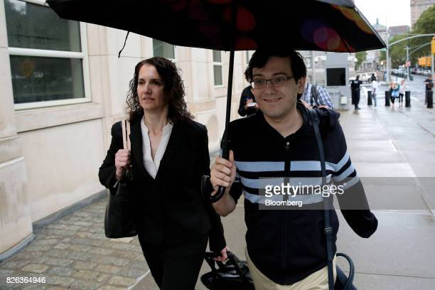 Martin Shkreli former chief executive officer of Turing Pharmaceuticals AG right arrives at federal court in the Brooklyn borough of New York US on...