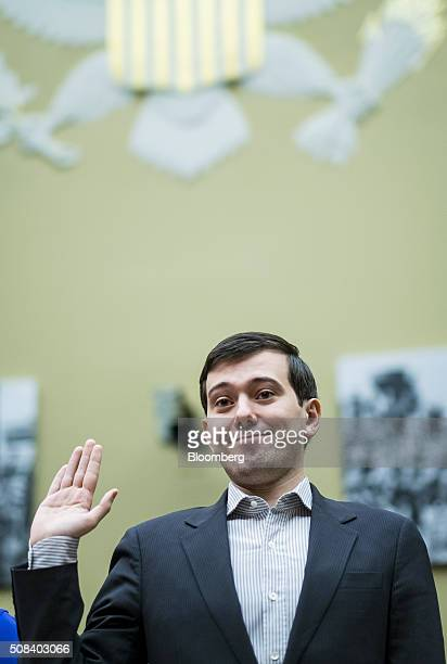 Martin Shkreli former chief executive officer of Turing Pharmaceuticals LLC is sworn in during a House Committee on Oversight and Government Reform...