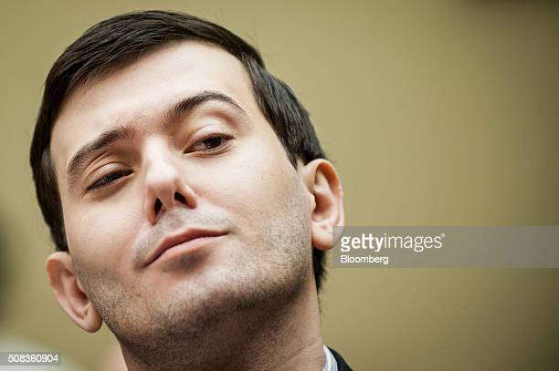 Martin Shkreli former chief executive officer of Turing Pharmaceuticals LLC reacts during a House Committee on Oversight and Government Reform...