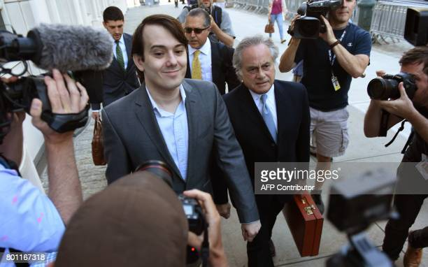 Martin Shkreli the former Turing Pharmaceuticals executive who became known as 'Pharma Bro' arrives for the first day of jury selection in his...
