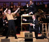 Martin Short and Christian Borle perform during The New York Pops 31st Birthday Gala at Carnegie Hall on April 28 2014 in New York City