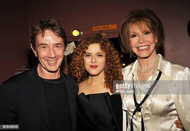 Martin Short Bernadette Peters and Mary Tyler Moore attends Bernadette Peters in concert for Broadway Barks after party at Blue Fin on November 9...