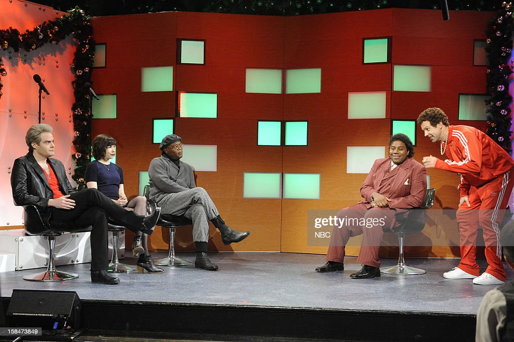 LIVE -- 'Martin Short' Episode 1630 -- Pictured: (l-r) Bill Hader, Carrie Brownstein, Samuel L. Jackson, <a gi-track='captionPersonalityLinkClicked' href=/galleries/search?phrase=Kenan+Thompson&family=editorial&specificpeople=215158 ng-click='$event.stopPropagation()'>Kenan Thompson</a>, Jason Sudeikis --