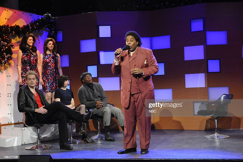LIVE -- 'Martin Short' Episode 1630 -- Pictured: (l-r) Bill Hader, Cecily Strong, Vanessa Bayer, Carrie Brownstein, Samuel L. Jackson, Kenan Thompson --