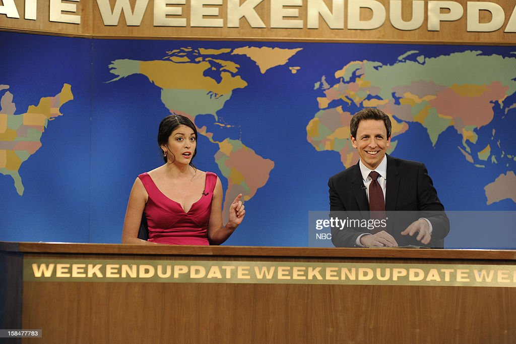 LIVE -- 'Martin Short' Episode 1630 -- Pictured: (l-r) Cecily Strong, Seth Meyers --