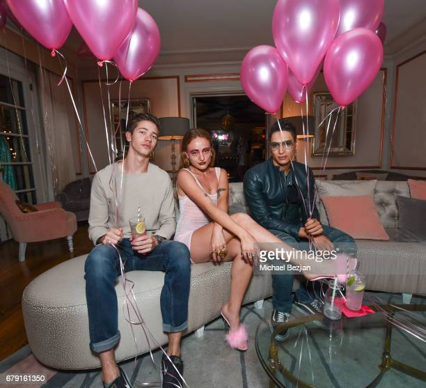 Martin Shultz Millie Brown and Nathaniel Weller attend Millie Brown's Rainbow Bodied Cocktail Event at the Private Residence of Jonas Tahlin CEO...