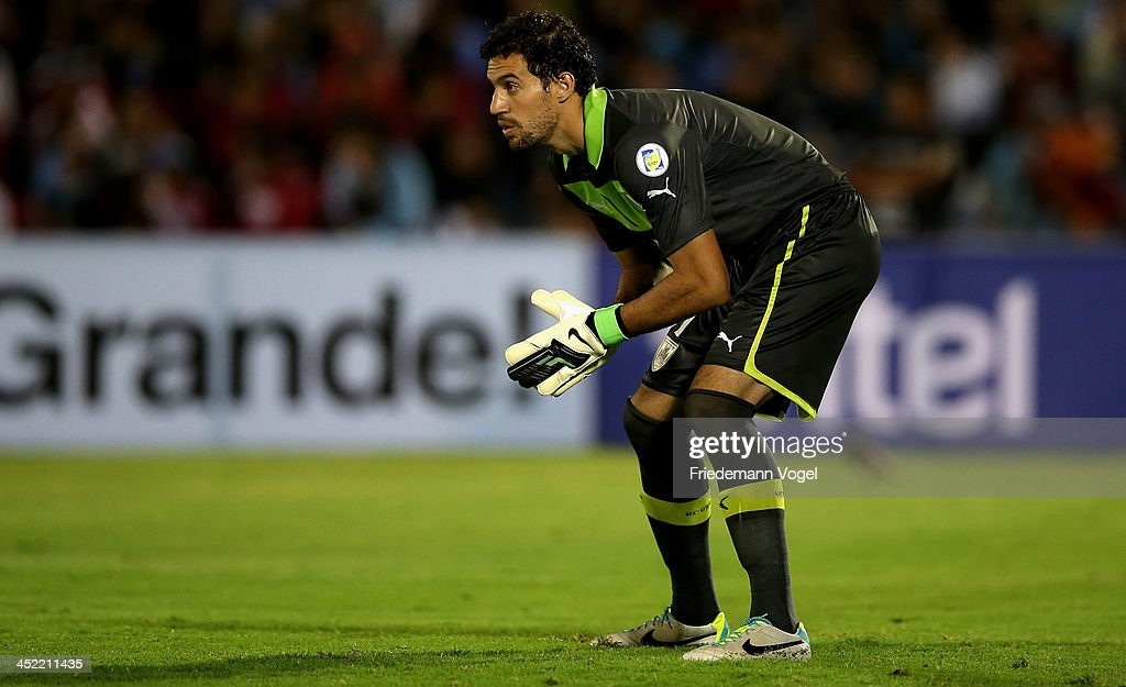 <a gi-track='captionPersonalityLinkClicked' href=/galleries/search?phrase=Martin+Silva&family=editorial&specificpeople=4354248 ng-click='$event.stopPropagation()'>Martin Silva</a> of Uruguay looks on during leg 2 of the FIFA World Cup Qualifier match between Uruguay and Jordan at Centenario Stadium Stadium on November 20, 2013 in Montevideo, Uruguay.