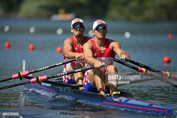 Martin Sinkovic and Valent Sinkovic of Croatia compete in the Men's Double Sculls heats during Day 1 of the 2015 World Rowing Cup III on Lucerne...