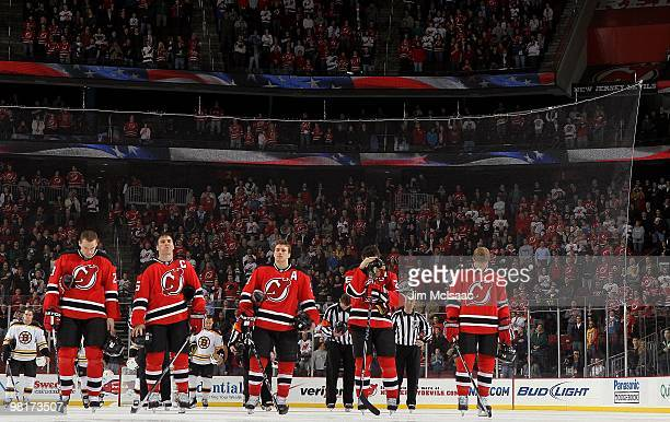 Martin Skoula Jamie Langenbrunner Zach Parise Patrik Elias and Paul Martin prepare to play against the New Jersey Devils of the Boston Bruins at the...