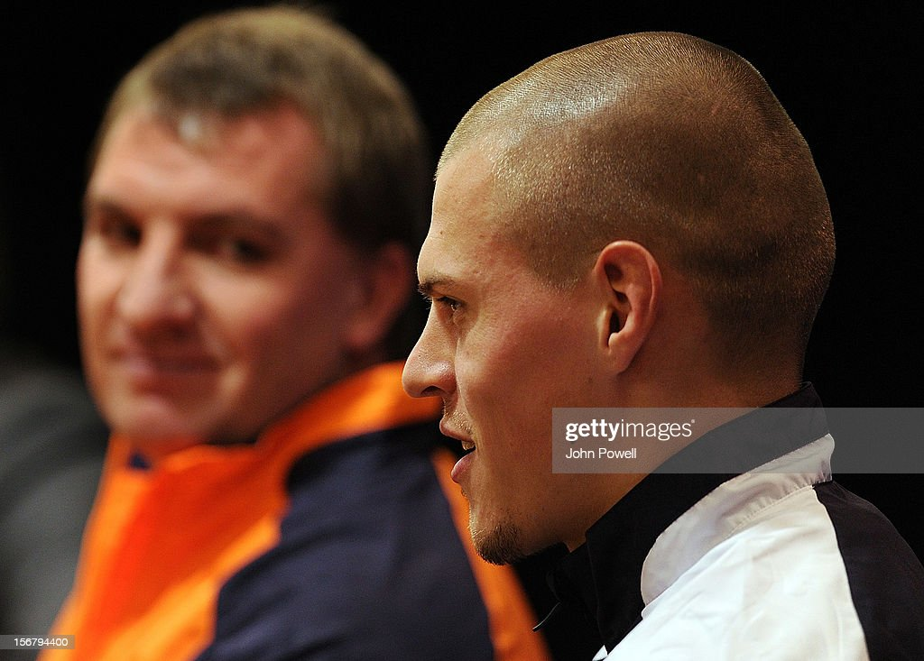 <a gi-track='captionPersonalityLinkClicked' href=/galleries/search?phrase=Martin+Skrtel&family=editorial&specificpeople=5554576 ng-click='$event.stopPropagation()'>Martin Skrtel</a> (R) of Liverpool and manager <a gi-track='captionPersonalityLinkClicked' href=/galleries/search?phrase=Brendan+Rodgers+-+Soccer+Manager&family=editorial&specificpeople=5446684 ng-click='$event.stopPropagation()'>Brendan Rodgers</a> of Liverpool attend a press conference ahead of their UEFA Europa League group A match against BSC Young Boys at Anfield on November 21, 2012 in Liverpool, England.