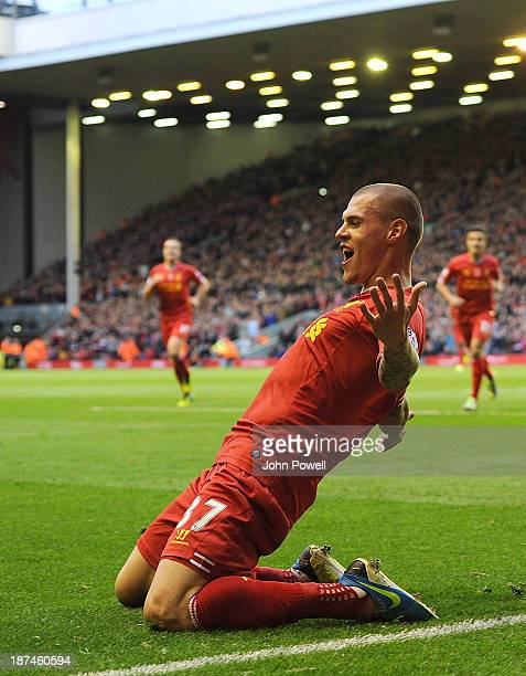 Martin Skrtel of Liverpool celebrates his goal during the Barclays Premier League Match between Liverpool and Fulham at Anfield on November 9 2013 in...