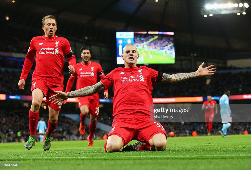 <a gi-track='captionPersonalityLinkClicked' href=/galleries/search?phrase=Martin+Skrtel&family=editorial&specificpeople=5554576 ng-click='$event.stopPropagation()'>Martin Skrtel</a> of Liverpool celebrates scoring his team's fourth goal during the Barclays Premier League match between Manchester City and Liverpool at Etihad Stadium on November 21, 2015 in Manchester, England.
