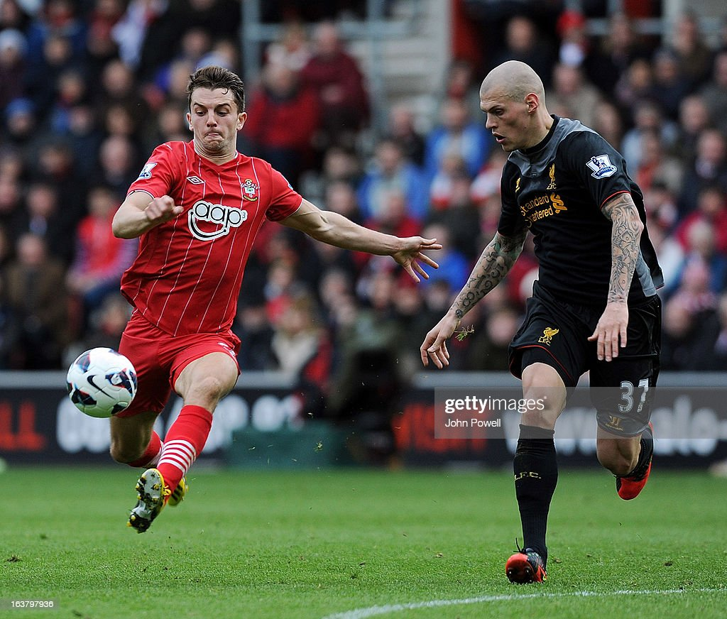 Martin Skrtel of Liverpool competes with Jay Ramirez of Southampton during the Barclays Premier League match between Southampton and Liverpool at St Mary's Stadium on March 16, 2013 in Southampton, England.