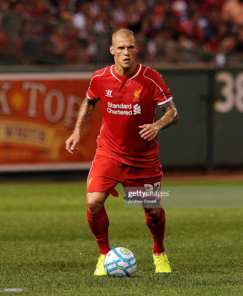 Martin Skrtel of Liverpool during the pre-season friendly match between Liverpool FC and AS Roma at Fenway Park on July 23, 2014 in Boston, Massachusetts.
