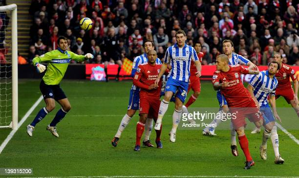 Martin Skrtel of Liverpool heads in for Liverpool during the FA Cup Fifth round match between Liverpool and Brighton and Hove Albion at Anfield on...