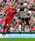 Martin Skrtel of Liverpool scores the second goal during the Barclays Premier League game between Liverpool and Bolton Wanderers at Anfield on August...