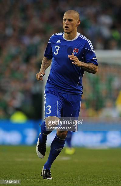 Martin Skrtel of Slovakia during the UEFA EURO 2012 group B Qualifier match between Republic of Ireland and Slovakia at the AVIVA Stadium on...