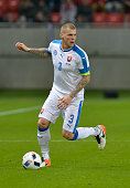 Martin Skrtel of Slovakia plays the ball during the friendly football match between Slovakia and Latvia at the City Arena in Trnava on March 25 2016...