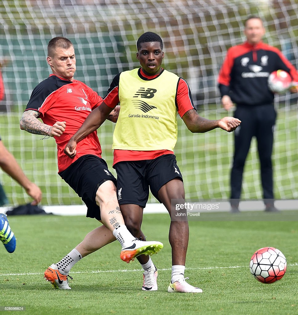 Martin Skrtel with Sheyi Ojo of Liverpool during a training session at Melwood Training Ground on May 6, 2016 in Liverpool, England.