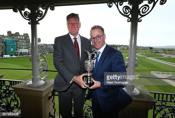 Martin Slumber Chief Executive of the RA with European Tour CEO Keith Pelley and the Senior Open Championship Trophy on the balcony of the Old Course...