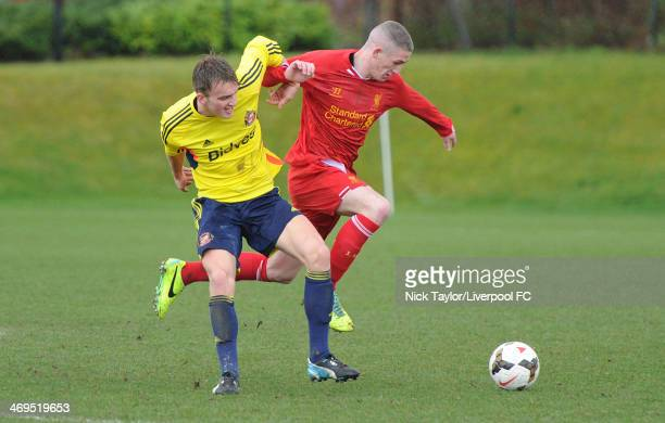 Martin Smith of Sunderland and David Roberts of Liverpool in action during the Barclays Premier League Under 18 fixture between Liverpool and...