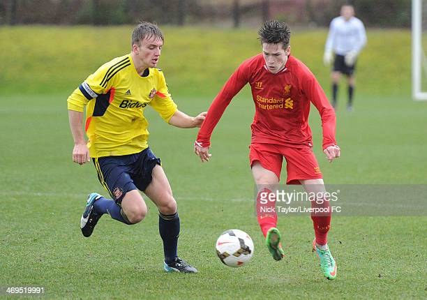 Martin Smith of Sunderland and Ryan Kent of Liverpool in action during the Barclays Premier League Under 18 fixture between Liverpool and Sunderland...