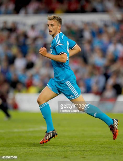 Martin Smith of Sunderland in action during the preseason friendly between Hartlepool United v Sunderland at Victoria Park on July 18 2014 in...