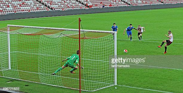 Martin Smith of Sunderland scores the winning goal from the penalty spot during the Barclays Premier League International Cup match between...