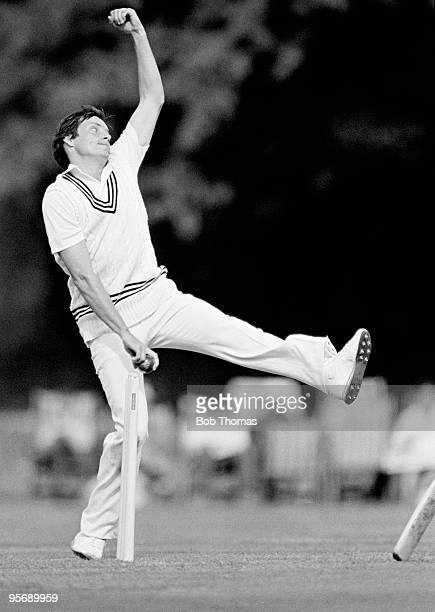 Martin Sneddon bowling for New Zealand against Australia in a friendly cricket match held in Arundel England on 4th June 1983