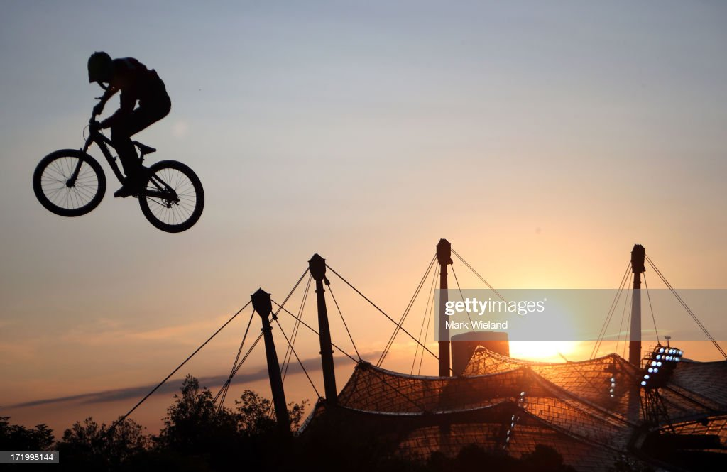 Martin Soderstrom of Sweden competes in the Mountain Bike Slopestyle Final competition at Munich Olympic Park on Day 4 of the X-Games on June 30, 2013 in Munich, Germany.