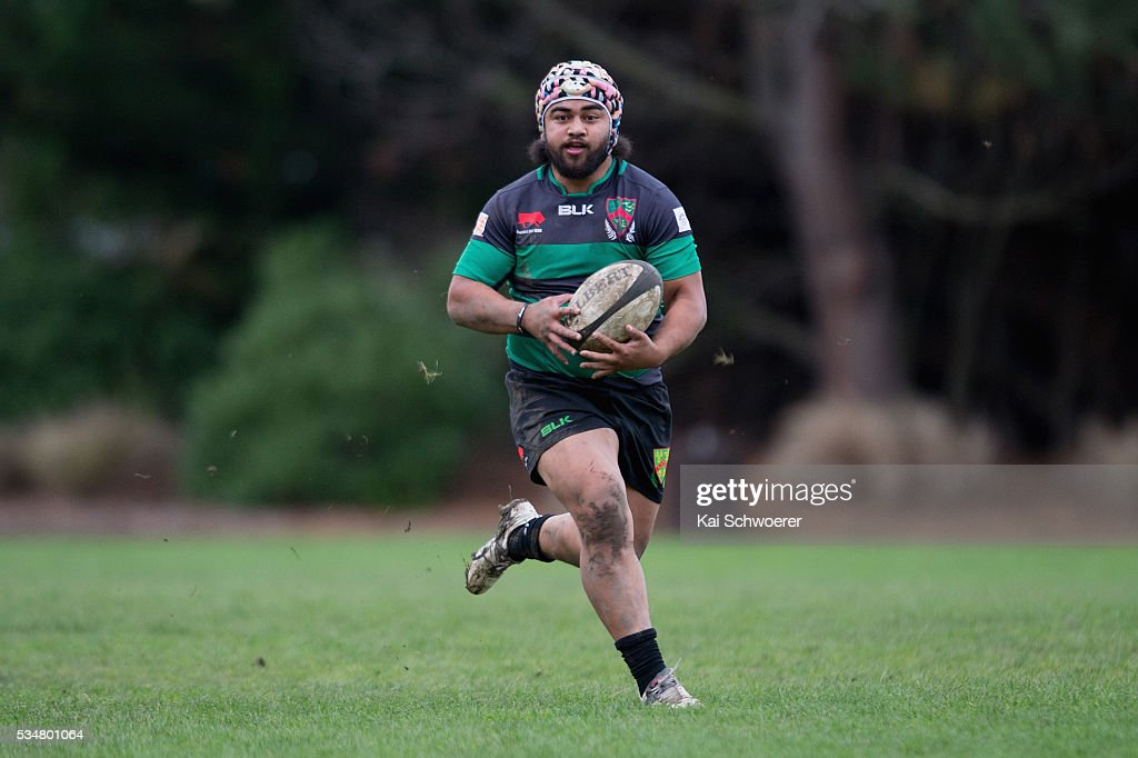 Martin Solofua of Linwood runs with the ball during the match between New Brighton RFC and Linwood RC on May 28, 2016 in Christchurch, New Zealand.