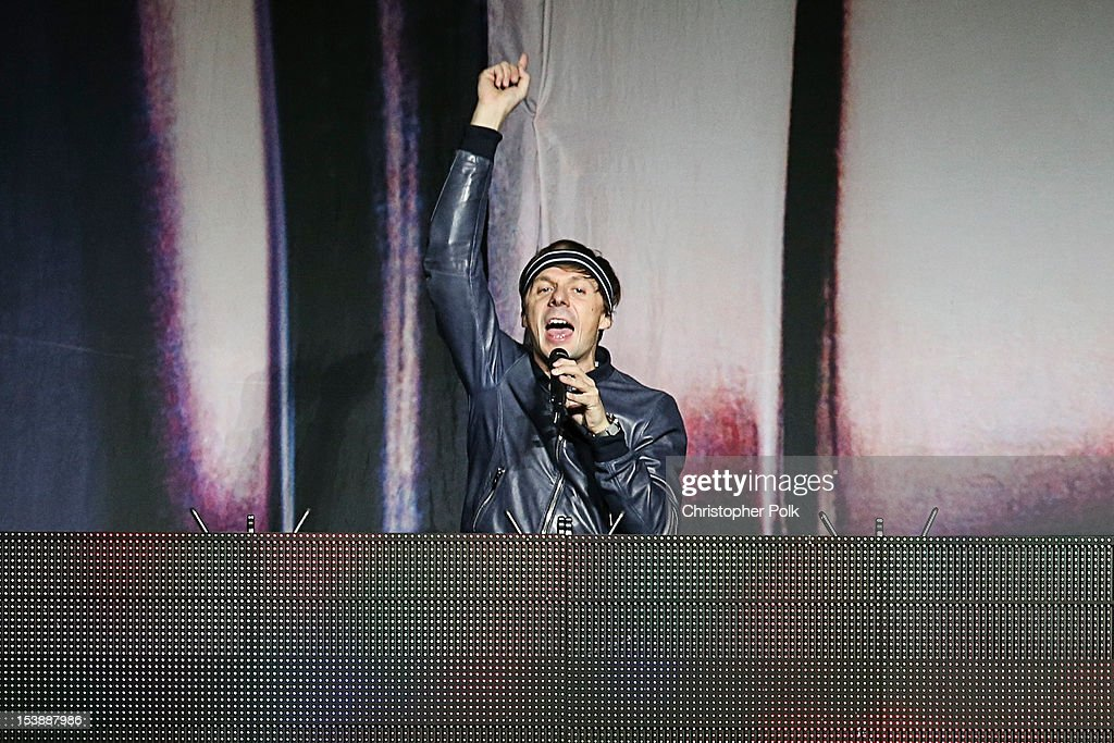 DJ <a gi-track='captionPersonalityLinkClicked' href=/galleries/search?phrase=Martin+Solveig&family=editorial&specificpeople=3964744 ng-click='$event.stopPropagation()'>Martin Solveig</a> performs before Madonna at Staples Center on October 10, 2012 in Los Angeles, California.