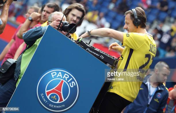 Martin Solveig reacts before the French Ligue 1 match between Paris Saint Germain and Amiens SC at Parc des Princes on August 5 2017 in Paris France