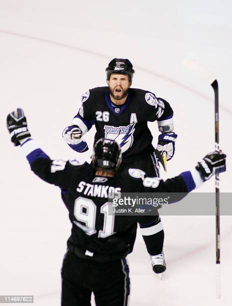 Martin St Louis celebrates his second period goal with Steven Stamkos of the Tampa Bay Lightning in Game Six of the Eastern Conference Finals against...
