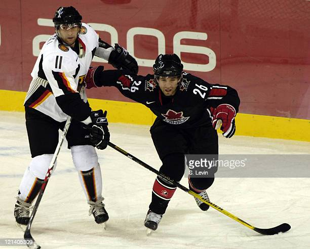 Martin St Louis of Canada in action against Germany during the 2006 Olympic Games at Palasport in Torino Italy on February 16 2006