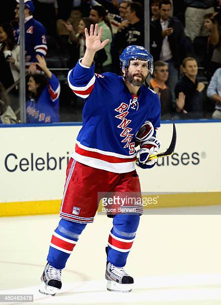 Martin St Louis of the New York Rangers celebrates after defeating the Los Angeles Kings 21 in Game Four of the 2014 NHL Stanley Cup Final at Madison...