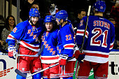 Martin St Louis of the New York Rangers celebrates after scoring a goal in the second period against the Washington Capitals during a game at Madison...