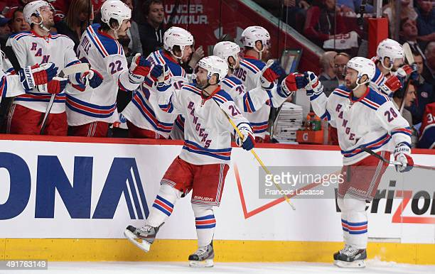 Martin St Louis of the New York Rangers celebrates after scoring a goal against the Montreal Canadiens in Game One of the Eastern Conference Final...