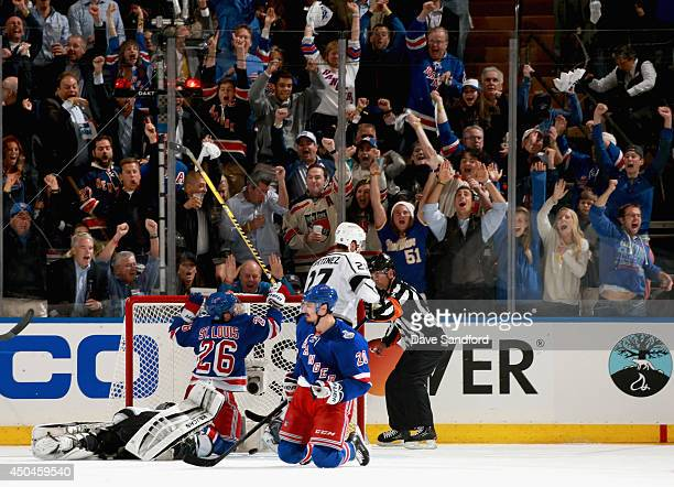 Martin St Louis of the New York Rangers scores on Jonathan Quick of the Los Angeles Kings during the second period of Game Four of the 2014 Stanley...