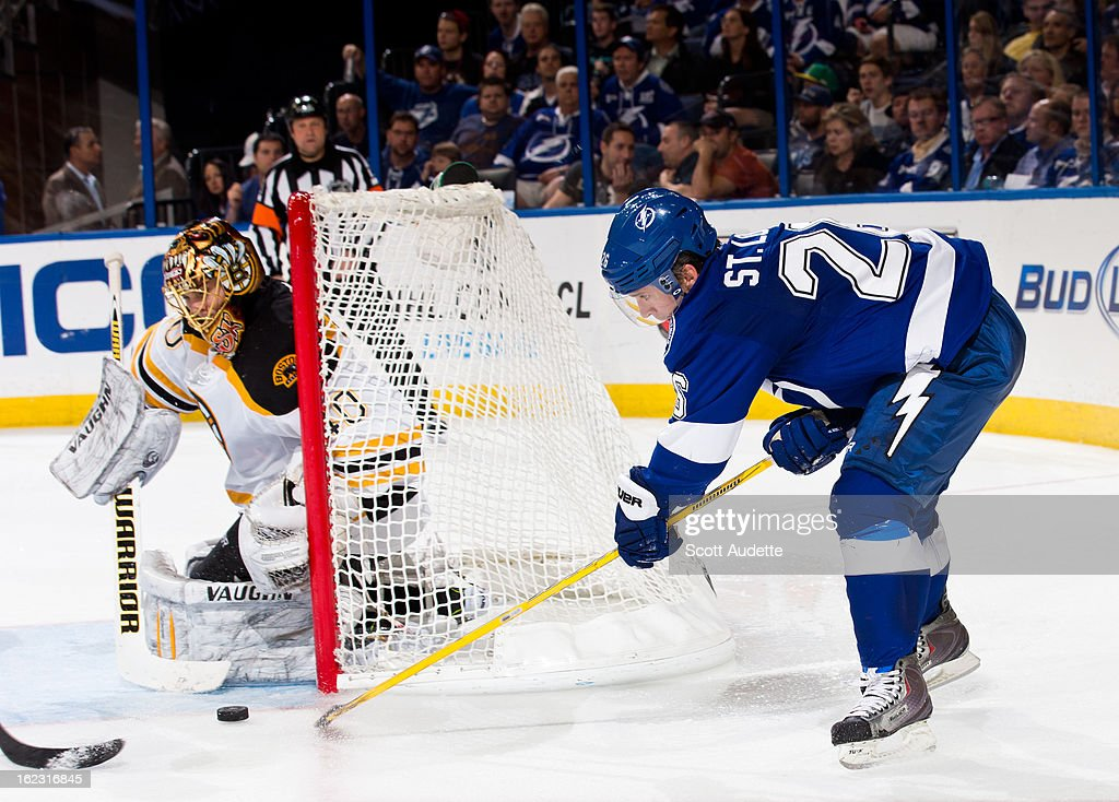 <a gi-track='captionPersonalityLinkClicked' href=/galleries/search?phrase=Martin+St.+Louis&family=editorial&specificpeople=202067 ng-click='$event.stopPropagation()'>Martin St. Louis</a> #26 of the Tampa Bay Lightning attempts to score during the third period of the game against the Boston Bruins at the Tampa Bay Times Forum on February 21, 2013 in Tampa, Florida.