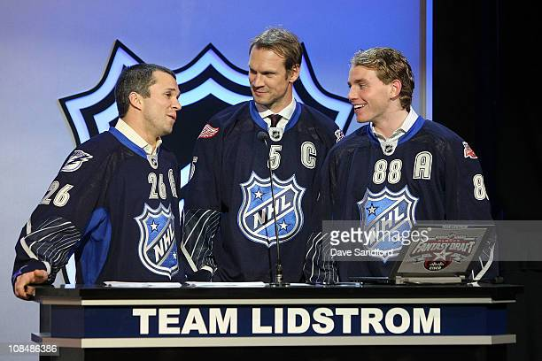 Martin St Louis of the Tampa Bay Lightning Nicklas Lidstrom of the Detroit Red Wings and Patrick Kane of the Chicago Blackhawks for team Lidstrom...