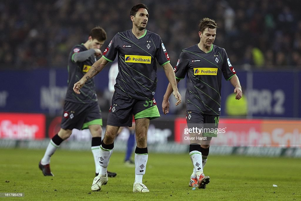 Martin Stranzl (C) and Gladbach players show their frustration during the Bundesliga match between Hamburger SV and Borussia Moenchengladbach at Imtech Arena on February 16, 2013 in Hamburg, Germany.