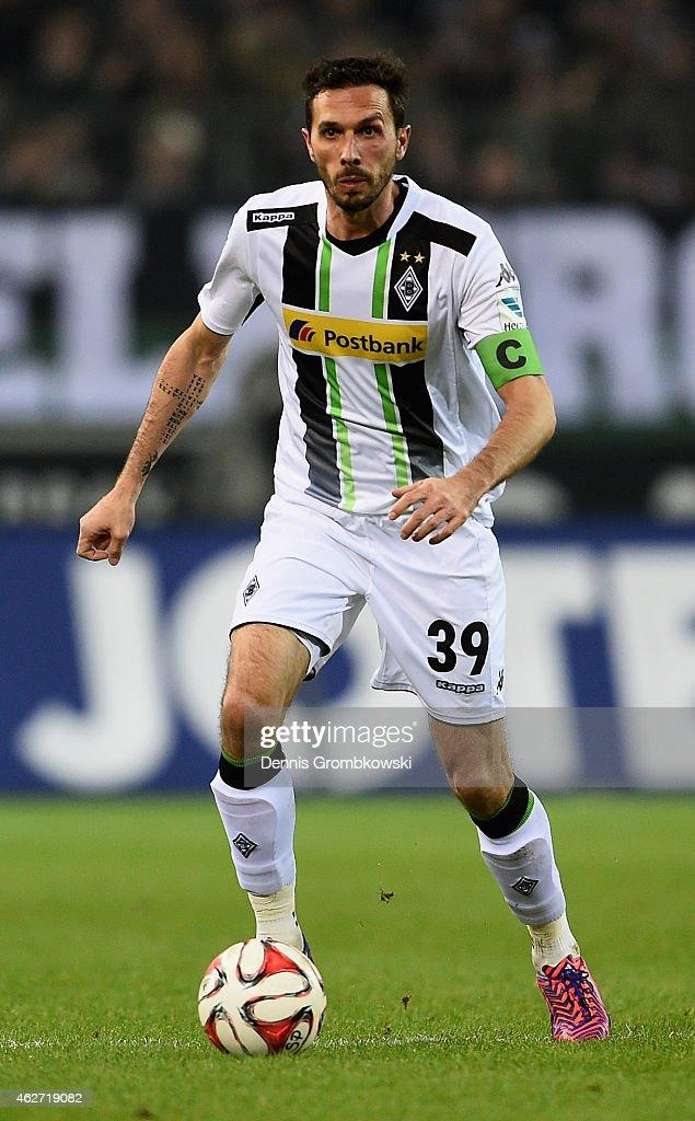Martin Stranzl of Borussia Moenchengladbach controls the ball during the Bundesliga match between Borussia Moenchengladbach and SC Freiburg at...