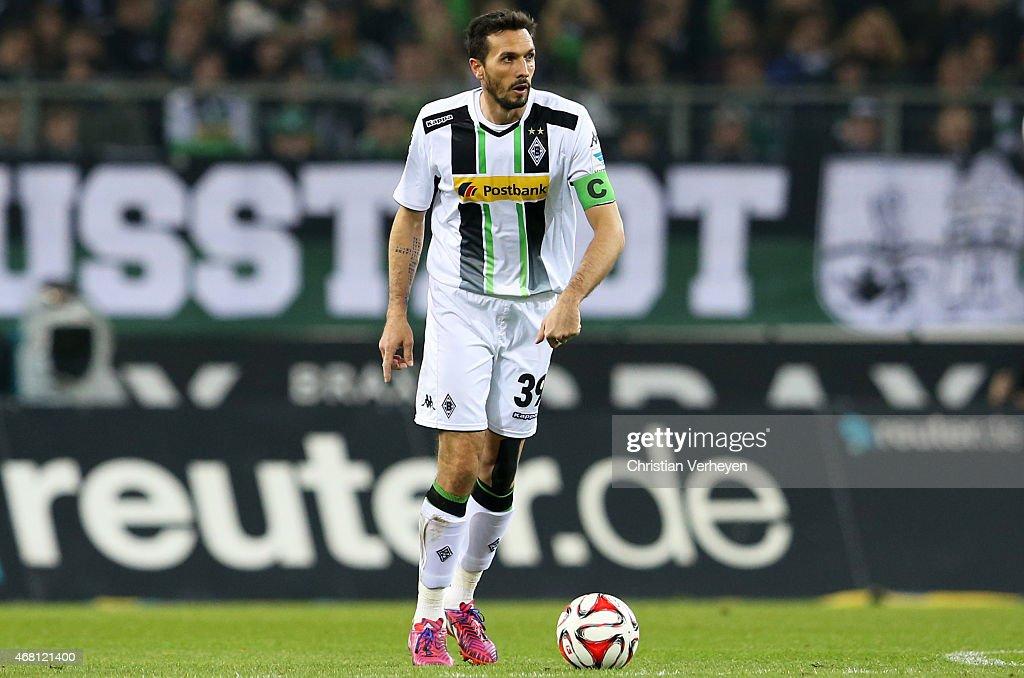 Martin Stranzl of Borussia Moenchengladbach controls the ball during the Bundesliga match between Borussia Moenchengladbach and Hannover 96 at...