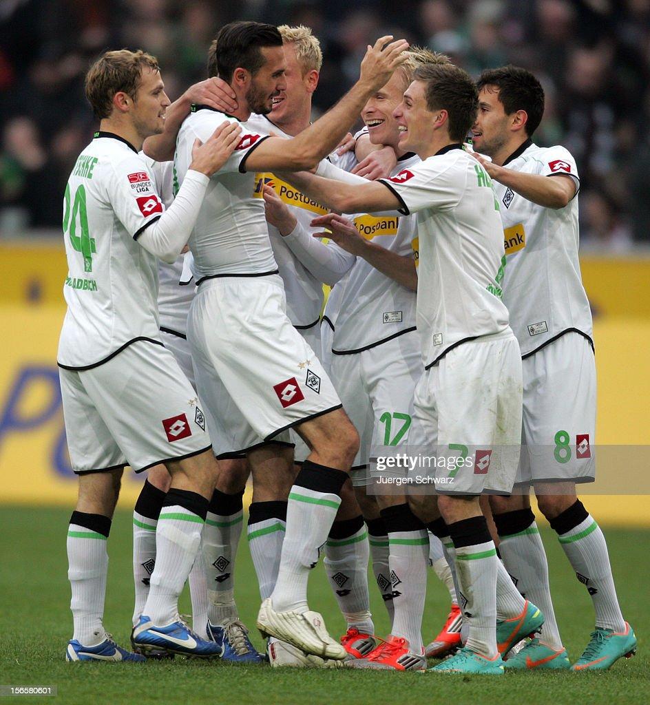 Martin Stranzl of Gladbach celebrates with teammates after scoring at the Bundesliga match between Borussia Moenchengladbach and VfB Stuttgart at...