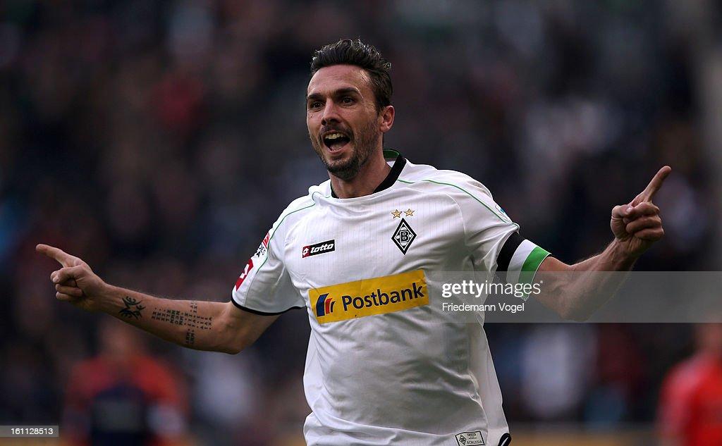 Martin Stranzl of Moenchengladbach celebrates scoring the first goal during the Bundesliga match between VfL Borussia Moenchengladbach and Bayer 04...